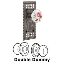 Nostalgic Warehouse - Craftsman - Double Dummy Craftsman Plate with White Rose Porcelain Knob in Antique Pewter