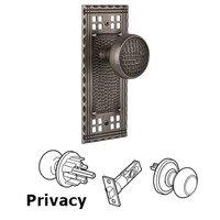Nostalgic Warehouse - Craftsman - Privacy Craftsman Plate with Craftsman Door Knob in Timeless Bronze