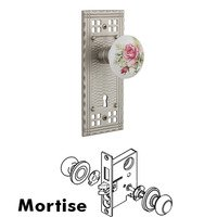Nostalgic Warehouse - Craftsman - Complete Mortise Lockset with Keyhole - Craftsman Plate with White Rose Porcelain Door Knob in Timeless Bronze