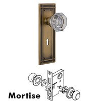 Nostalgic Warehouse - Mission - Mortise Mission Plate with Waldorf Knob and Keyhole in Antique Brass