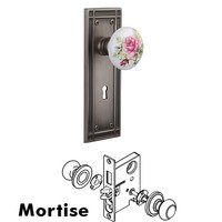 Nostalgic Warehouse - Mission - Mortise Mission Plate with White Rose Porcelain Knob and Keyhole in Antique Pewter