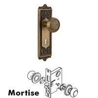 Nostalgic Warehouse - Egg & Dart - Complete Mortise Lockset with Keyhole - Egg & Dart Plate with Craftsman Door Knob in Timeless Bronze