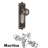 Nostalgic Warehouse - Egg & Dart - Complete Mortise Lockset with Keyhole - Egg & Dart Plate with Mission Door Knob in Timeless Bronze