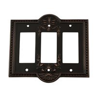 Nostalgic Warehouse - Meadows - Triple Rocker Switchplate in Timeless Bronze
