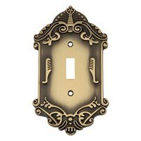 Nostalgic Warehouse - Victorian - Single Toggle Switchplate in Antique Brass