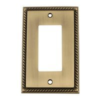 Nostalgic Warehouse - Rope - Single Rocker Switchplate in Antique Brass
