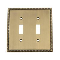 Nostalgic Warehouse - Egg & Dart - Double Toggle Switchplate in Antique Brass