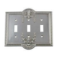 Nostalgic Warehouse - Meadows - Triple Toggle Switchplate in Bright Chrome