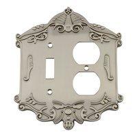 Nostalgic Warehouse - Victorian - Toggle/Duplex Switchplate in Antique Brass