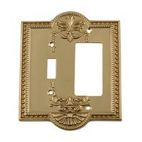 Nostalgic Warehouse - Meadows - Toggle/Rocker Switchplate in Antique Brass