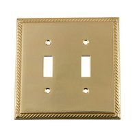 Nostalgic Warehouse - Rope - Double Toggle Switchplate in Antique Brass
