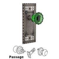 Nostalgic Warehouse - Craftsman - Privacy Craftsman Plate Crystal Emerald Glass Door Knob in Timeless Bronze