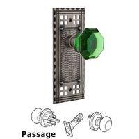 Nostalgic Warehouse - Craftsman - Privacy Craftsman Plate Waldorf Emerald Door Knob in Timeless Bronze