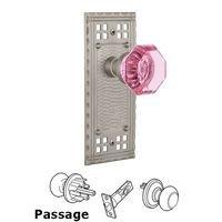 Nostalgic Warehouse - Craftsman - Privacy Craftsman Plate Waldorf Pink Door Knob in Timeless Bronze