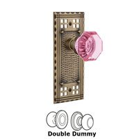 Nostalgic Warehouse - Craftsman - Nostalgic Warehouse - Double Dummy - Craftsman Plate Waldorf Pink Door Knob in Antique Brass