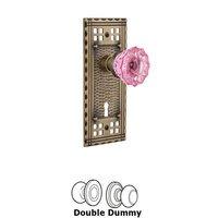 Nostalgic Warehouse - Craftsman - Nostalgic Warehouse - Privacy - Craftsman Plate with Keyhole Crystal Pink Glass Door Knob in Timeless Bronze