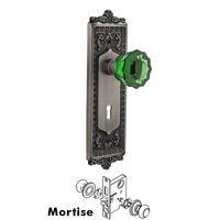 Nostalgic Warehouse - Egg & Dart - Nostalgic Warehouse - Mortise - Egg & Dart Plate Crystal Emerald Glass Door Knob in Timeless Bronze