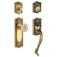 "Nostalgic Warehouse - Meadows - Handleset - Meadows with ""S"" Grip and Crystal Knob in Antique Brass and Vintage Brass"