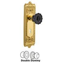 Nostalgic Warehouse - Egg & Dart - Nostalgic Warehouse - Privacy - Egg & Dart Plate with Keyhole Crystal Black Glass Door Knob in Timeless Bronze