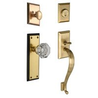 "Nostalgic Warehouse - New York - Handleset - New York with ""S"" Grip and Waldorf Knob in Antique Brass and Vintage Brass"