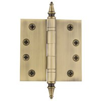 "Nostalgic Warehouse - Heavy Duty Hinges - 4"" Steeple Tip Heavy Duty Hinge with Square Corners in Antique Brass"
