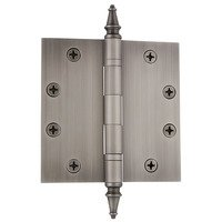 "Nostalgic Warehouse - Heavy Duty Hinges - 4 1/2"" Steeple Tip Heavy Duty Hinge with Square Corners in Antique Pewter"