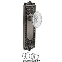 Nostalgic Warehouse - Egg & Dart - Double Dummy - Egg & Dart Plate With Crystal Victorian Knob in Antique Pewter