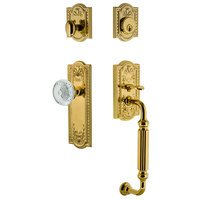 Nostalgic Warehouse - Meadows - Meadows Plate With F Grip And Crystal Meadows Knob in Lifetime Brass