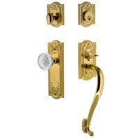 Nostalgic Warehouse - Meadows - Meadows Plate With S Grip And Crystal Meadows Knob in Lifetime Brass