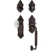 Nostalgic Warehouse - Victorian - Victorian Plate With C Grip And Crystal Victorian Knob in Timeless Bronze