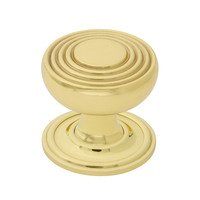 "Nostalgic Warehouse - Enfield - Deco Brass 1 3/8"" Cabinet Knob with Classic Rose in Polished Brass"