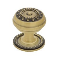 "Nostalgic Warehouse - Enfield - Meadows Brass 1 3/8"" Cabinet Knob with Rope Rose in Antique Brass"
