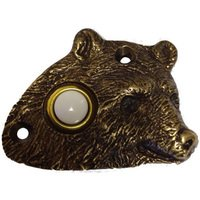 Novelty Hardware - Door Bell - Bear Head Door Bell in Antique Brass