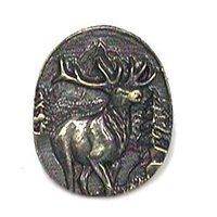 Novelty Hardware - Wildlife - Elk In Round Knob in Antique Brass