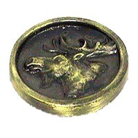 Novelty Hardware - Wildlife - Moose In Round Knob in Antique Brass