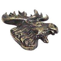 Novelty Hardware - Wildlife - Mr. Moosehead Knob (Facing Right) in Antique Brass
