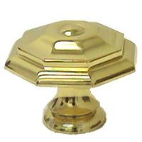 """Omnia Industries - Classic & Modern - 1 9/16"""" Octagonal Knob in Polished Brass Lacquered"""