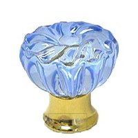 Omnia Industries - Crystal & Glass - 30mm Clear Azure Colored Glass Flower Knob with Polished Brass Base
