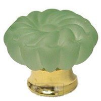 Omnia Industries - Crystal & Glass - 40mm Frosted Jade Colored Glass Flower Knob with Polished Brass Base