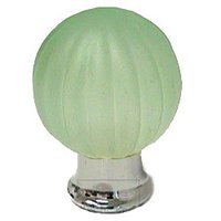 Omnia Industries - Crystal & Glass - 30mm Frosted Jade Colored Glass Globe Knob with Polished Chrome Base