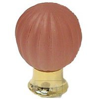 Omnia Industries - Crystal & Glass - 30mm Frosted Rose Colored Glass Globe Knob with Polished Brass Base