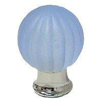 Omnia Industries - Crystal & Glass - 30mm Frosted Azure Colored Glass Globe Knob with Polished Chrome Base