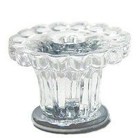 Omnia Industries - Crystal & Glass - 35mm Clear Glass Fountain Knob with Polished Chrome Base