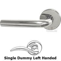Omnia Industries - Door Levers - Single Dummy Tube Left Handed Lever with Plain Rosette in Polished Stainless Steel