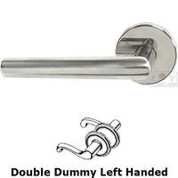 Omnia Industries - Door Levers - Double Dummy Angle Left Handed Lever with Plain Rosette in Polished Stainless Steel