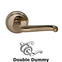 Omnia Industries - Door Levers - Double Dummy Traditions Crest Lever with Round Rosette in Polished Brass Unlacquered