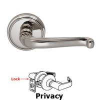 Omnia Industries - Door Levers - Privacy Traditions Crest Lever with Round Rosette in Polished Nickel