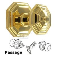 Omnia Industries - Door Knobs - Passage Traditions Octagon Knob with Octagon Rosette in Polished Brass Unlacquered