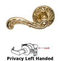 Omnia Industries - Door Levers - Privacy Carved Wave Left Handed Lever with Carved Rosette in Polished Brass Lacquered