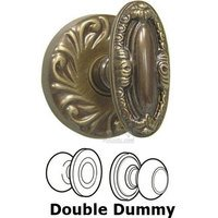Omnia Industries - Door Knobs - Double Dummy Set Ornate Carved Oval Knob with Carved Rosette in Shaded Bronze Lacquered